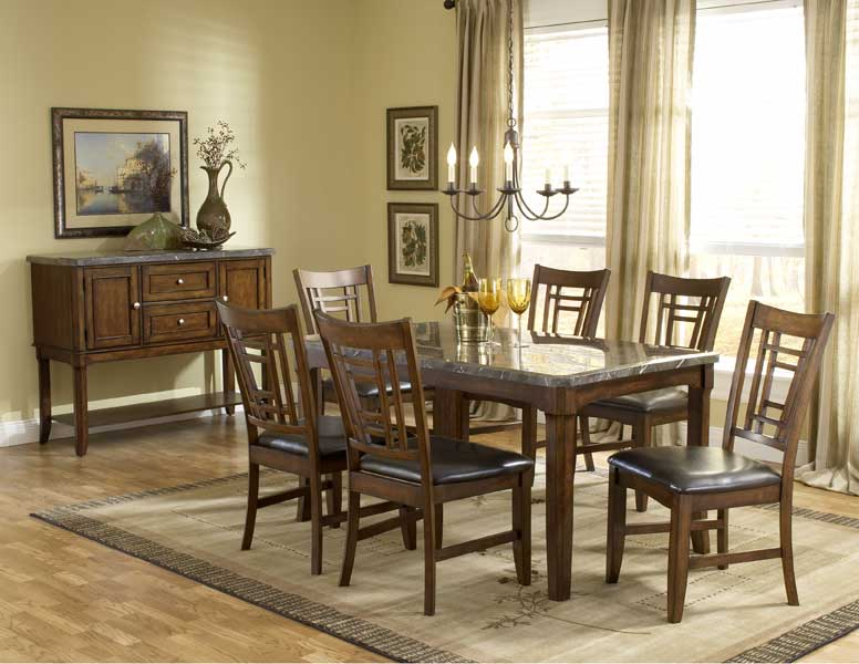 Hillsdale Patterson Rectangle Marble Top Dining Set