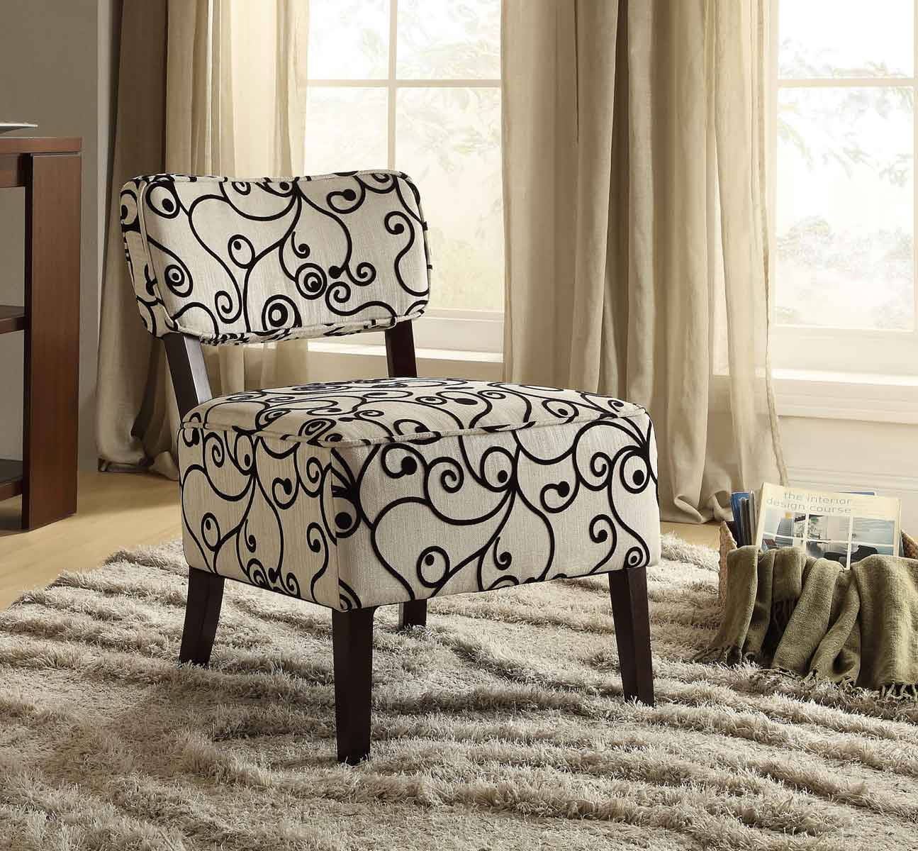 Homelegance Orson Accent Chair - Black Swirl Fabric