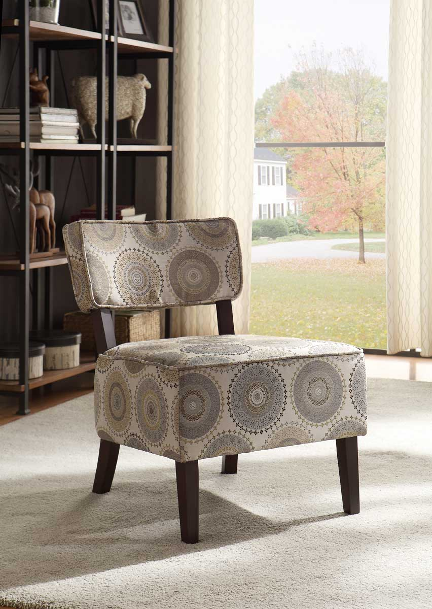 Homelegance Orson Accent Chair - Grey Medallion Fabric