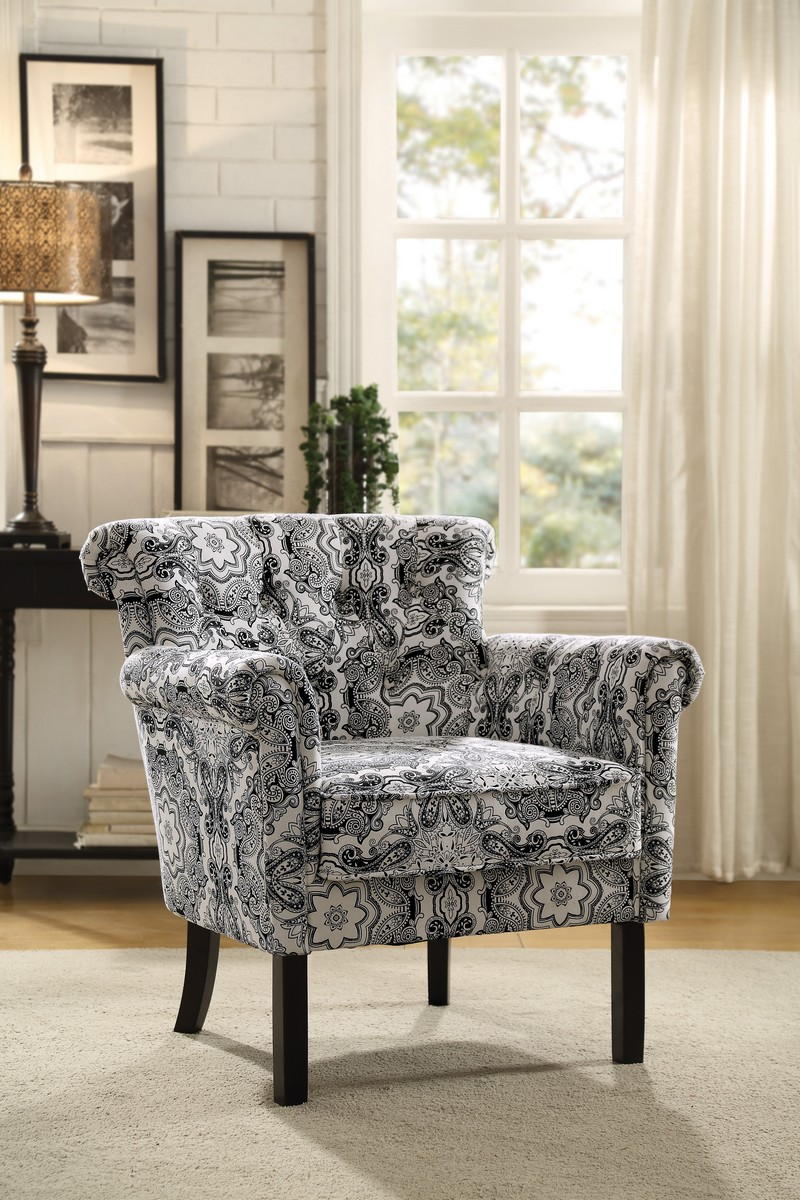 Homelegance Barlowe Accent Chair Black Paisley Print