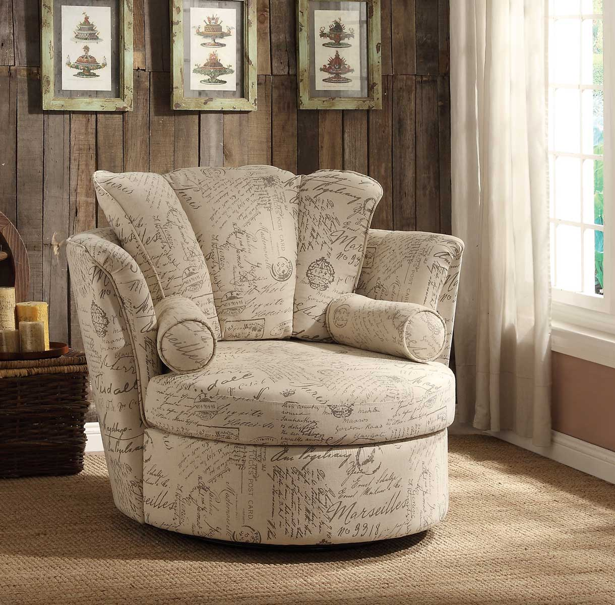 Homelegance Aurelia Swivel Accent Chair with 2 Pillows - Letter Print
