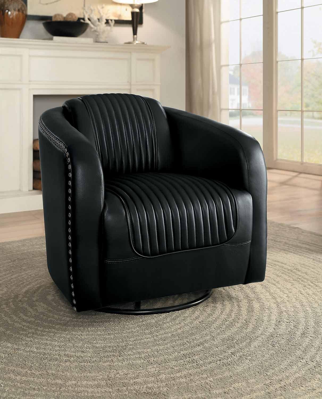 Homelegance Moderne Swivel Chair - Black Bi-Cast Vinyl