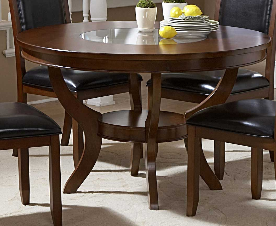 Homelegance avalon round dining table with glass insert for Round glass dining table