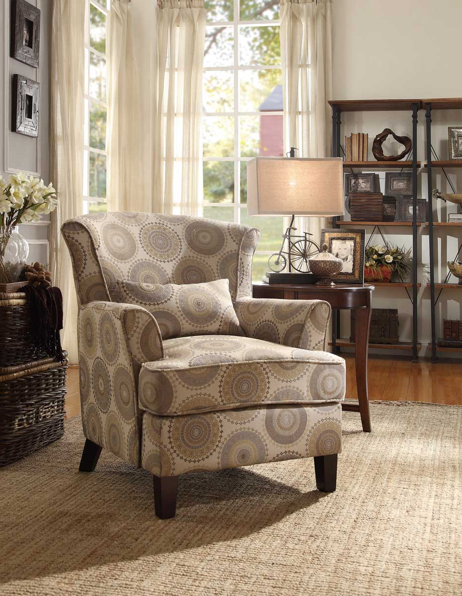 Homelegance Nicolo Accent Chair with 1 Kidney Pillow