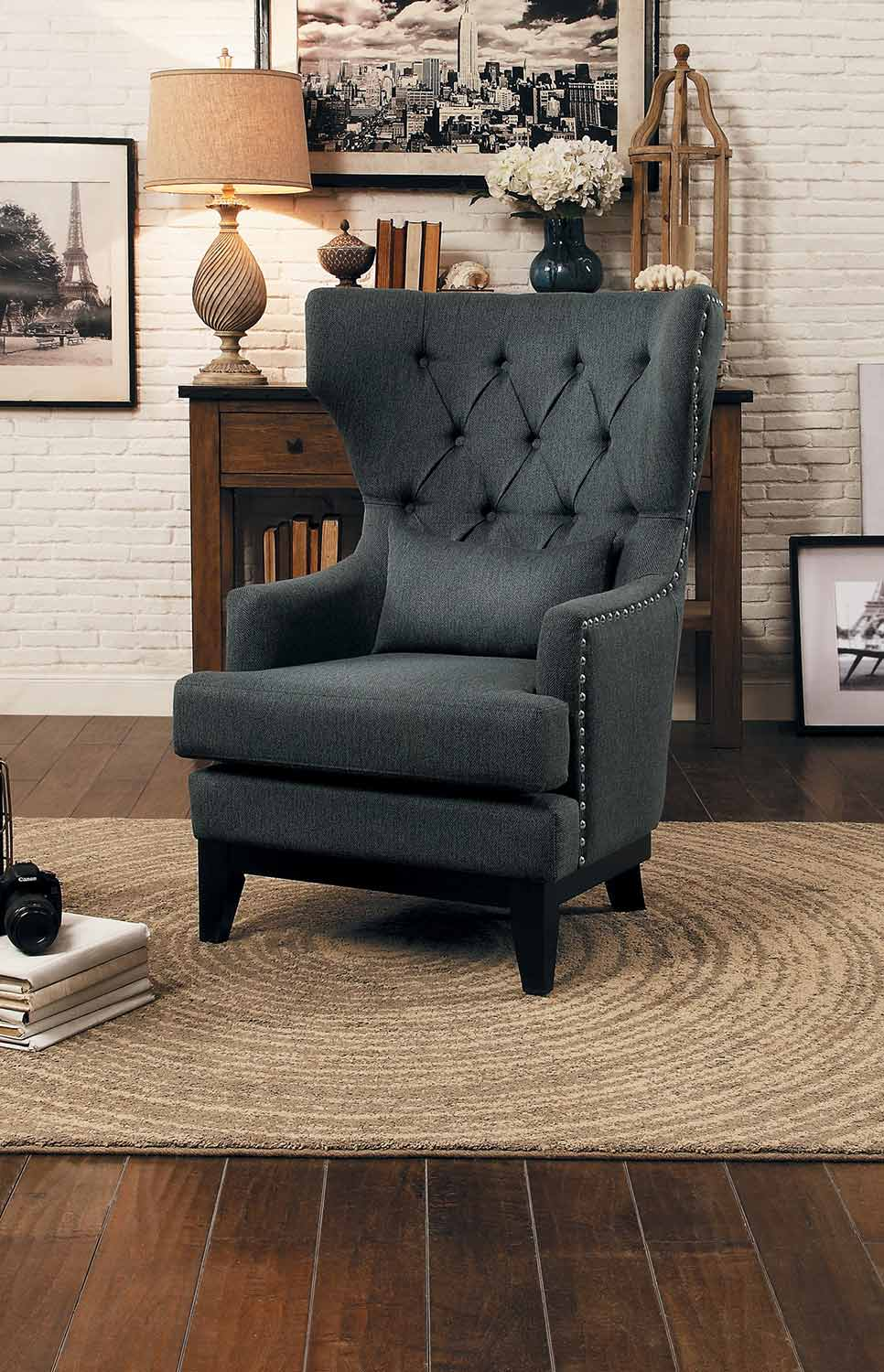 Homelegance Adriano Accent Chair with 1 Kidney Pillow - Gray