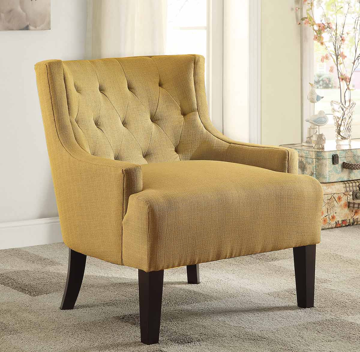homelegance dulce accent chair mustard 1233md at. Black Bedroom Furniture Sets. Home Design Ideas