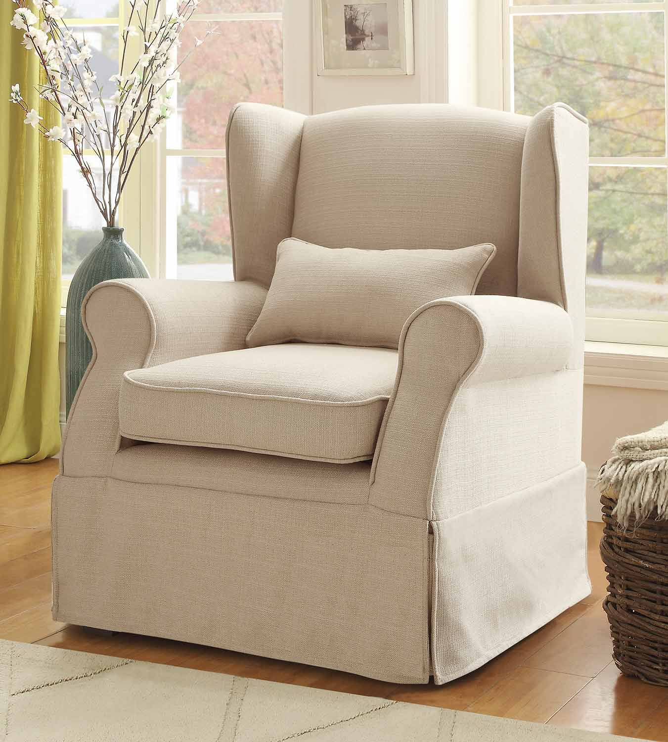 Homelegance Holtville Accent Chair with 1 Kidney Pillow - Neutral