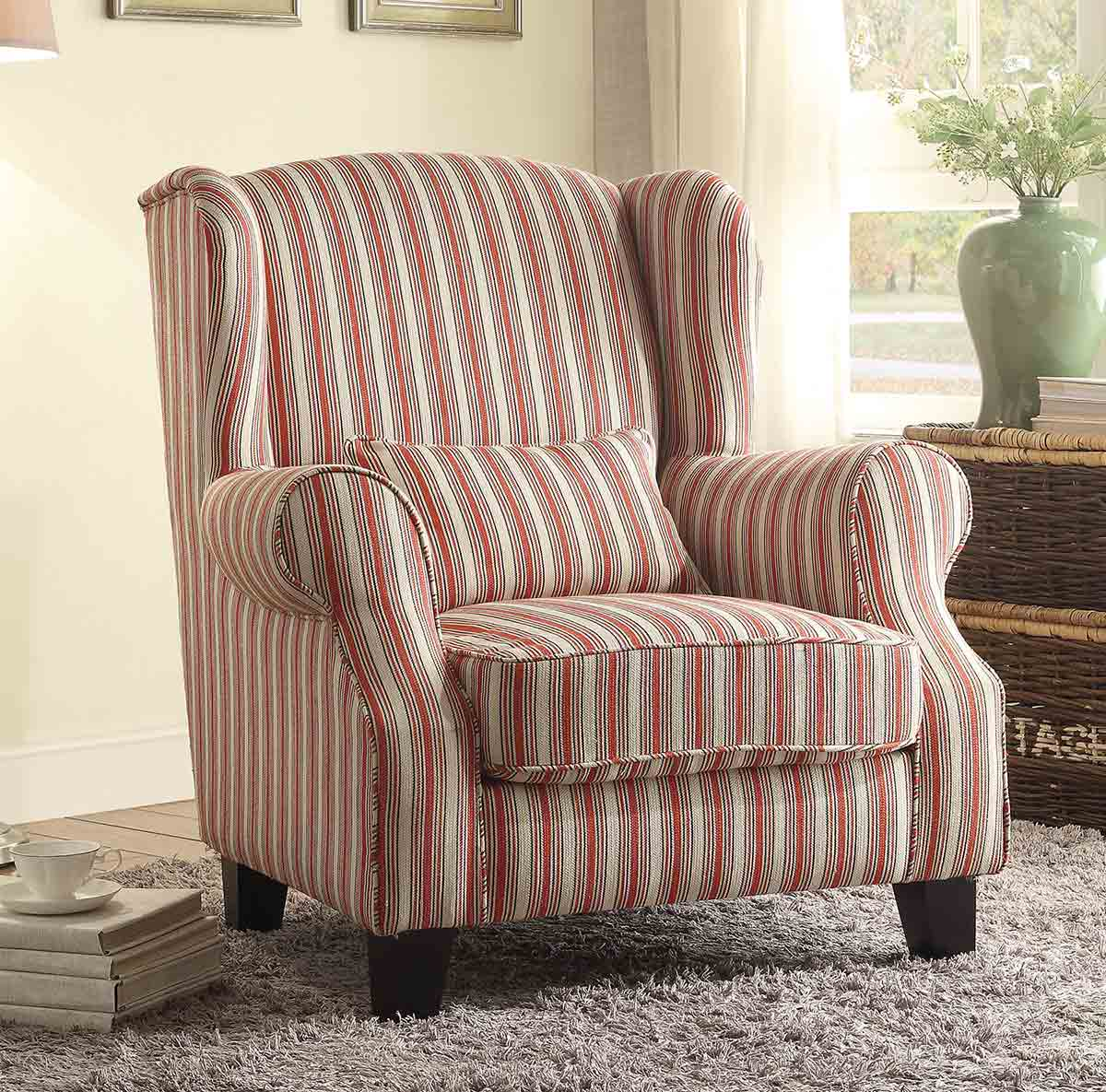 Homelegance La Verne Accent Chair With 1 Kidney Pillow Red Cream 1237F1S At