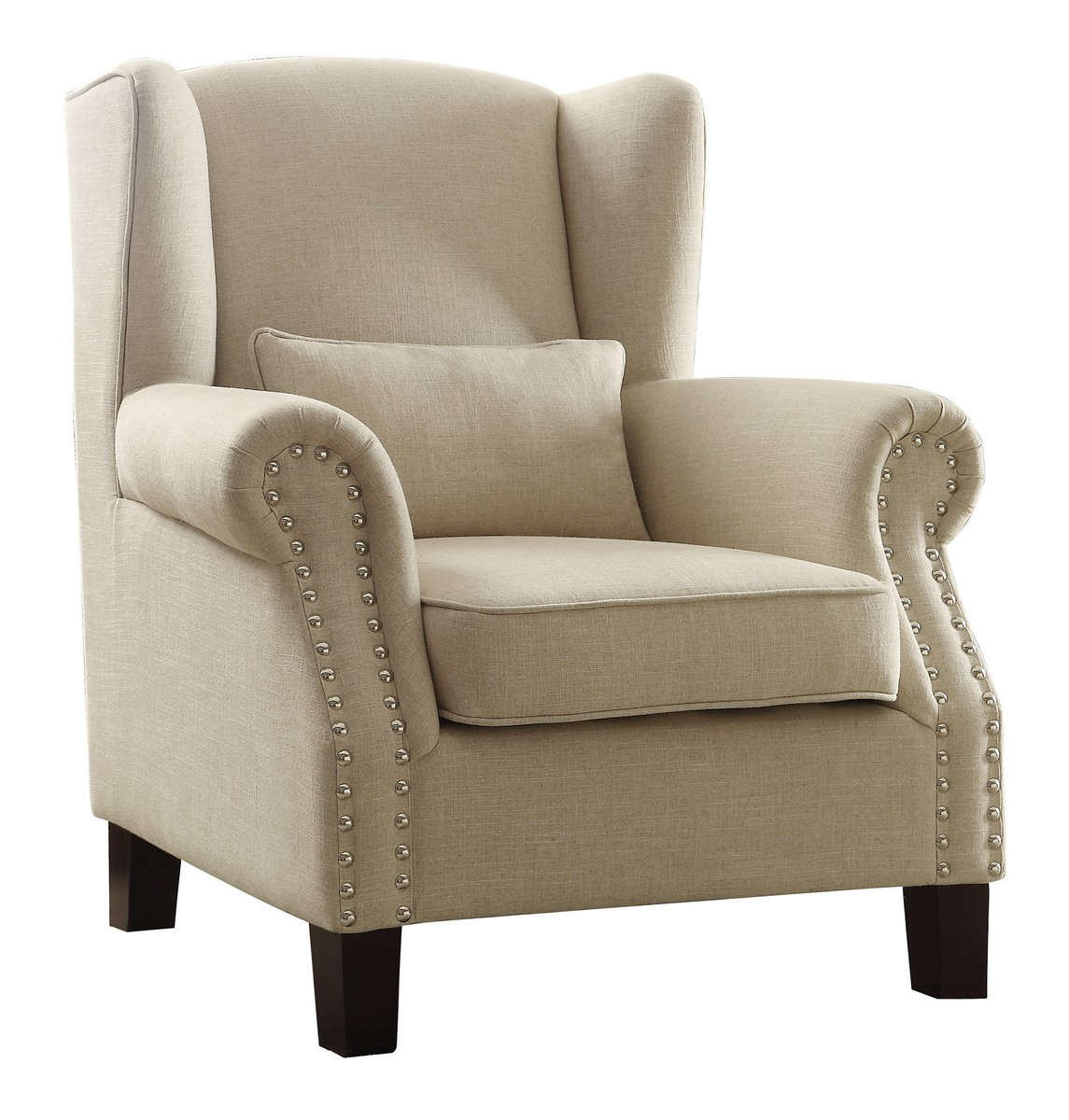 Homelegance Adelaide Accent Chair with 1 Kidney Pillow - Linen-like fabric - Light Neutral