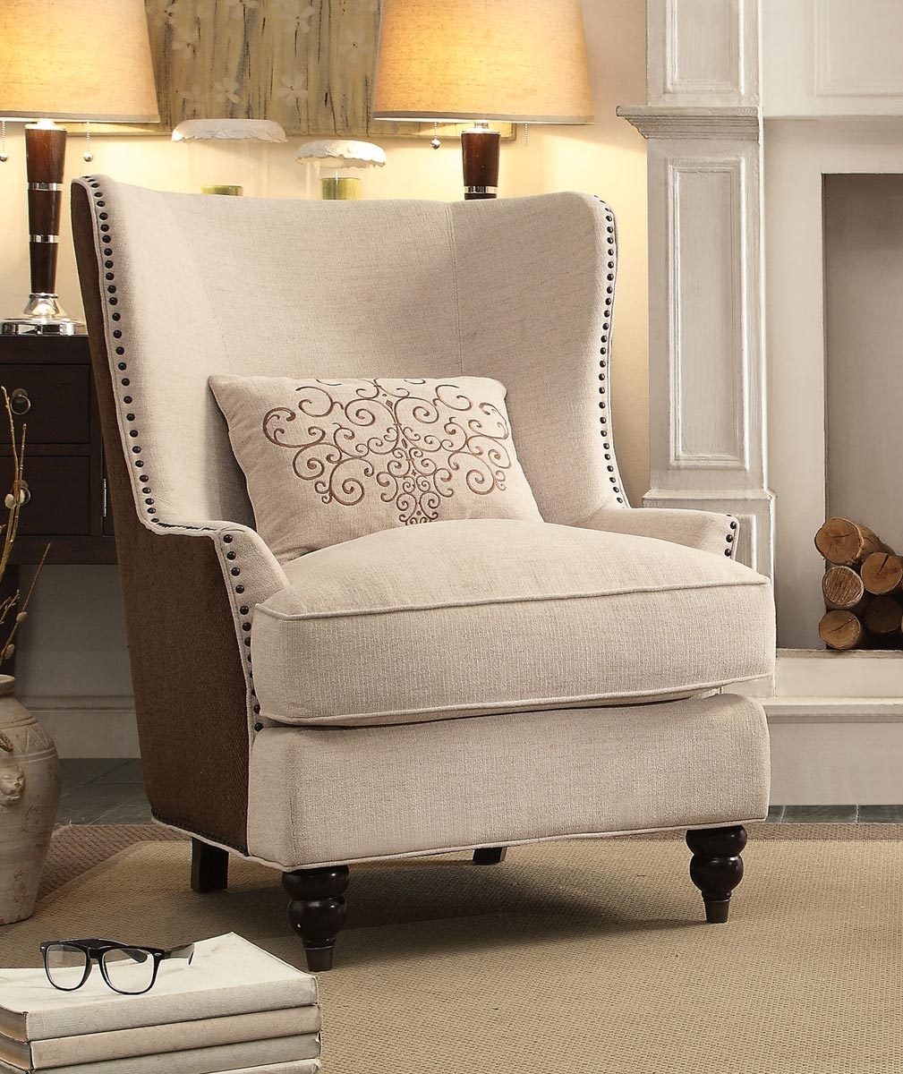 Homelegance Georgia Accent Chair with 1 Kidney Pillow - Neutral