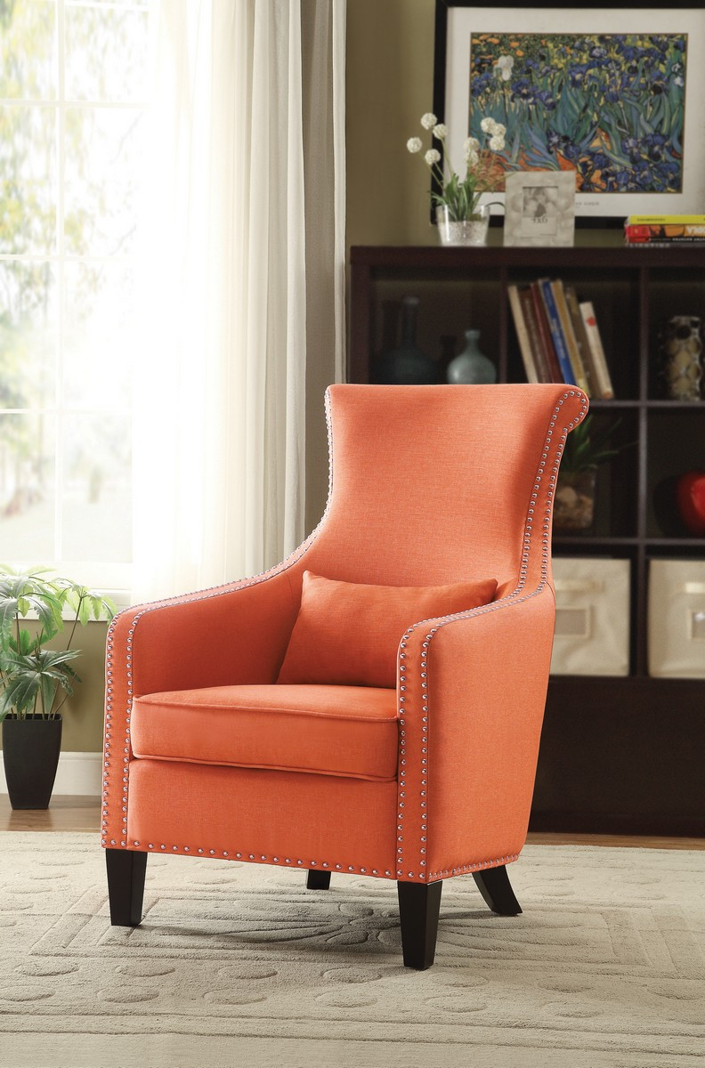 Homelegance Arles Accent Chair with 1 Kidney Pillow - Orange