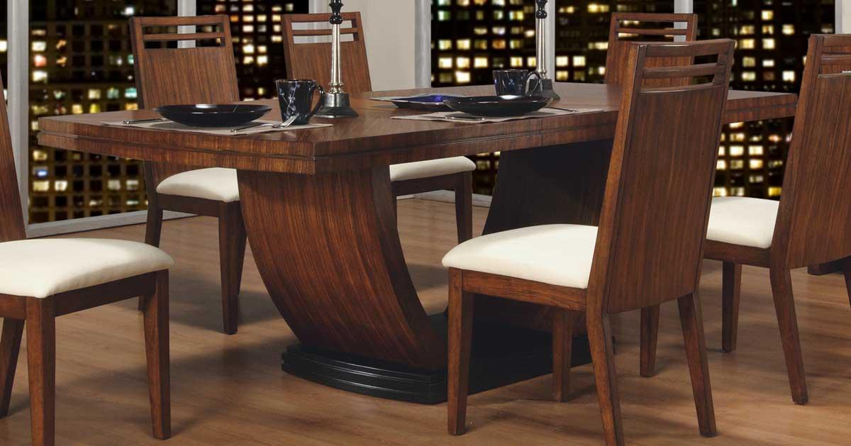 Homelegance Zebrano Pedestal Dining Table