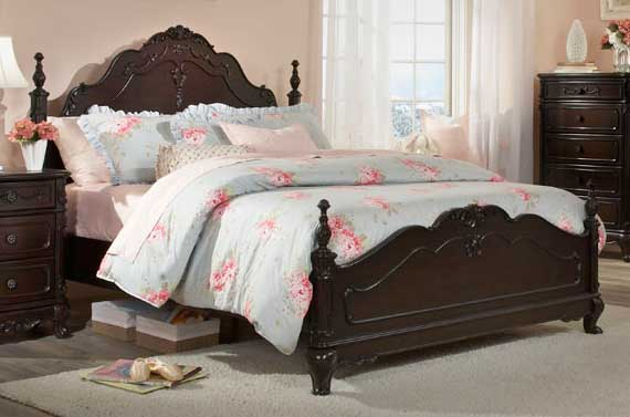 Homelegance Cinderella Bed - Dark Cherry