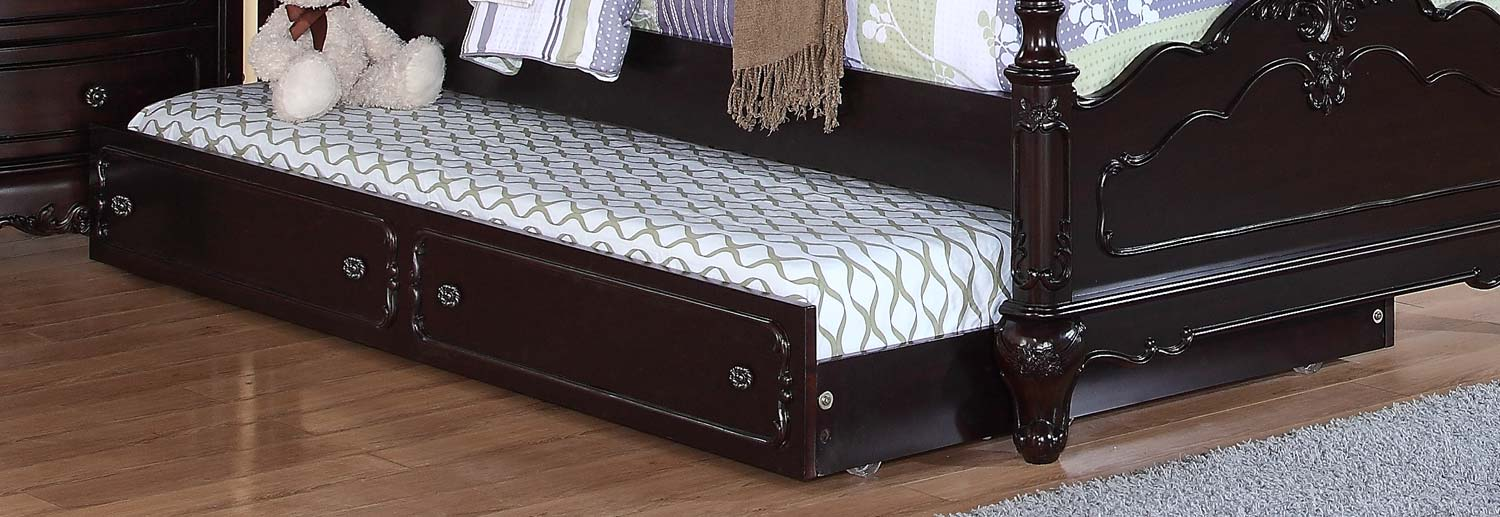 Homelegance Cinderella Twin Trundle for Canopy Bed and Daybed - Dark Cherry