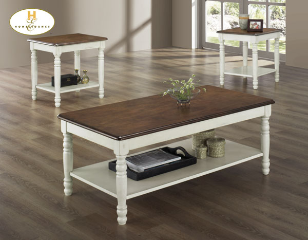 Homelegance ohana 3pc cocktail table white 1393w 31 at - Artistic wood clad design for warm essence in your house ...