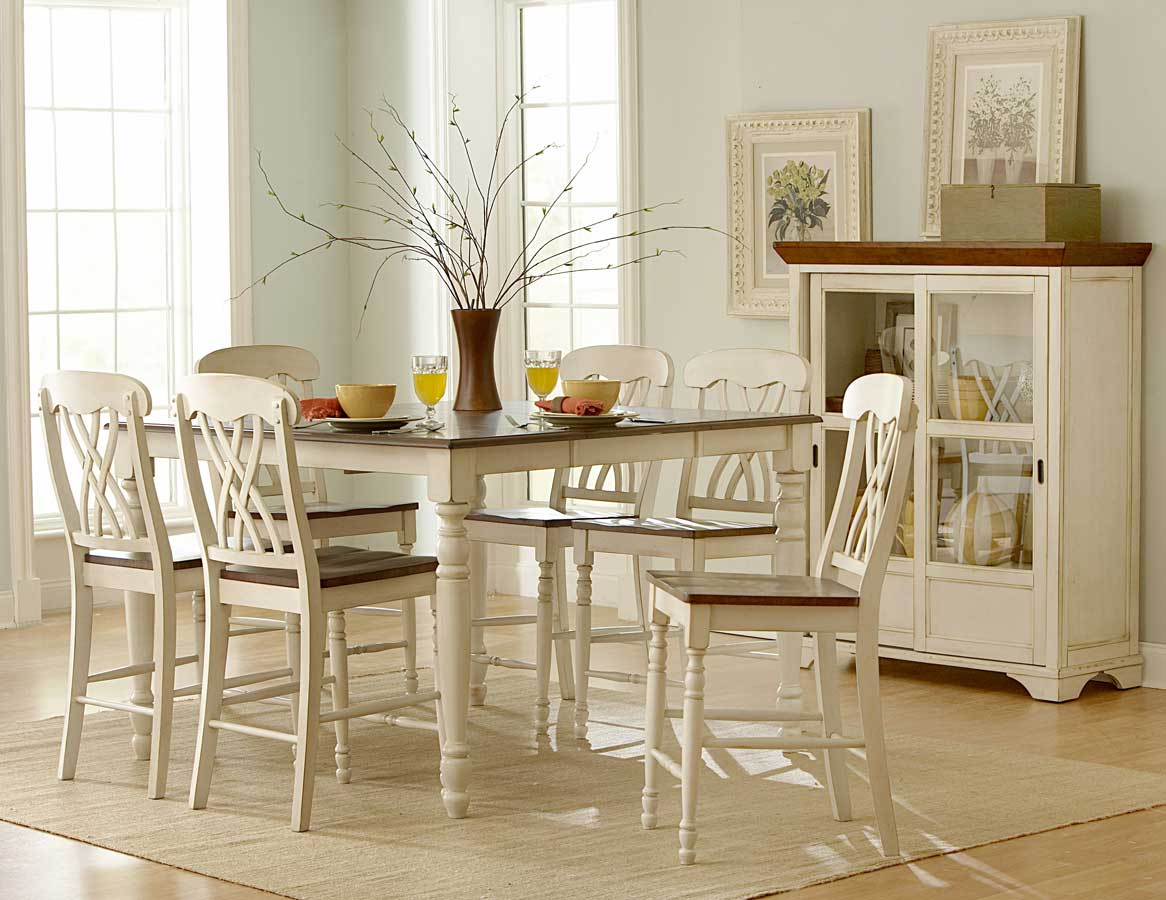 Homelegance ohana counter height dining set white d1393w for Kitchen dining room furniture