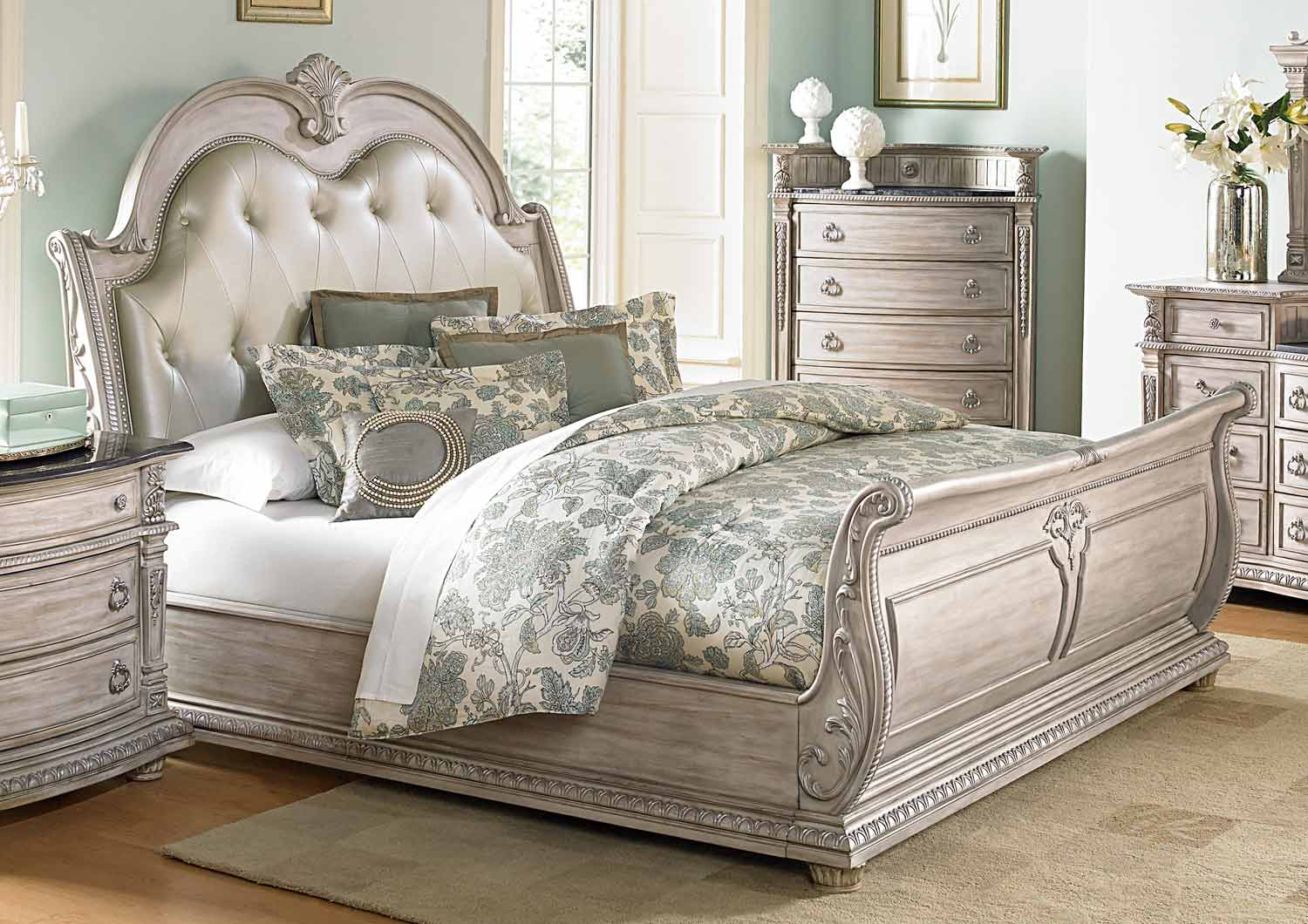 Homelegance Palace II Upholstered Bed - Weathered White Rub-Through