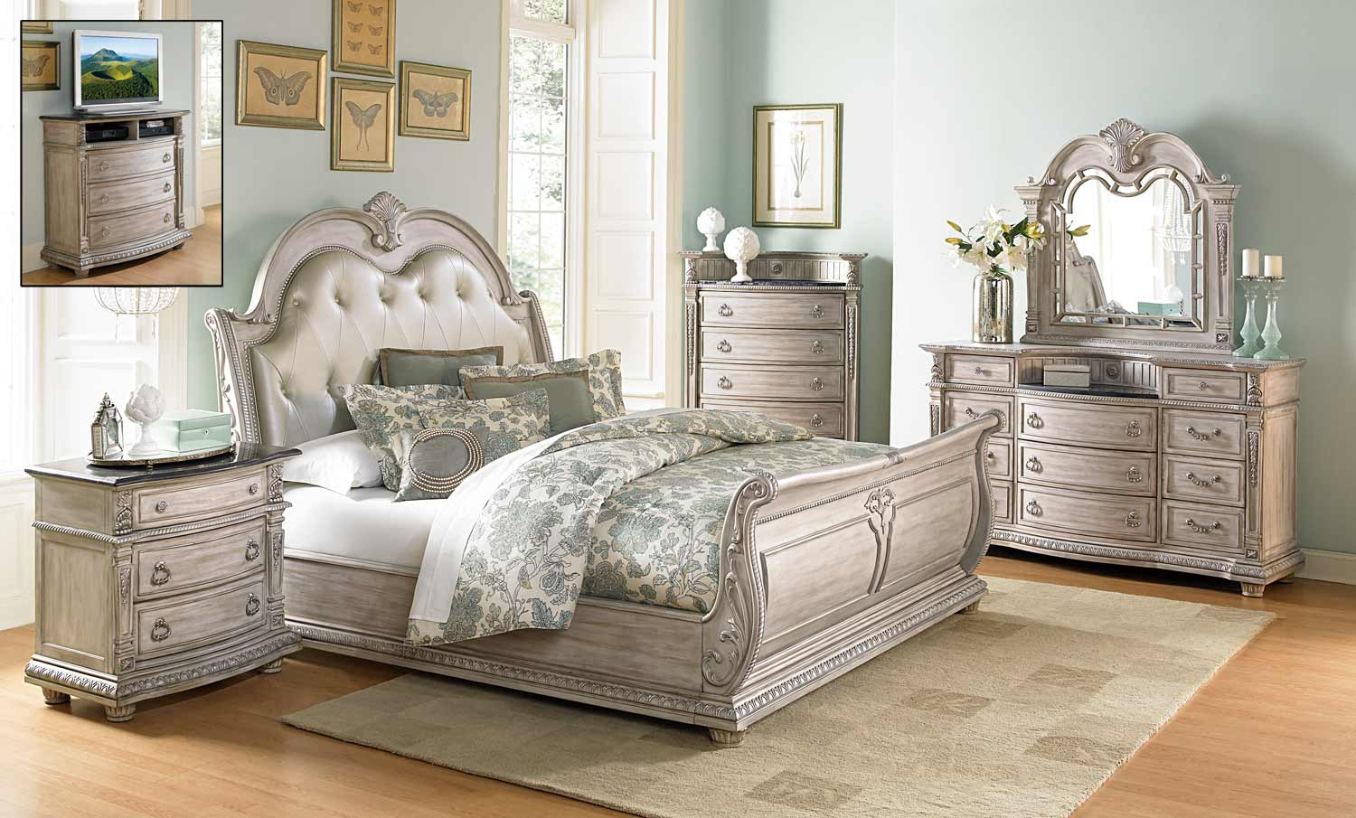 Homelegance Palace II Bedroom Set - Weathered White Rub-Through