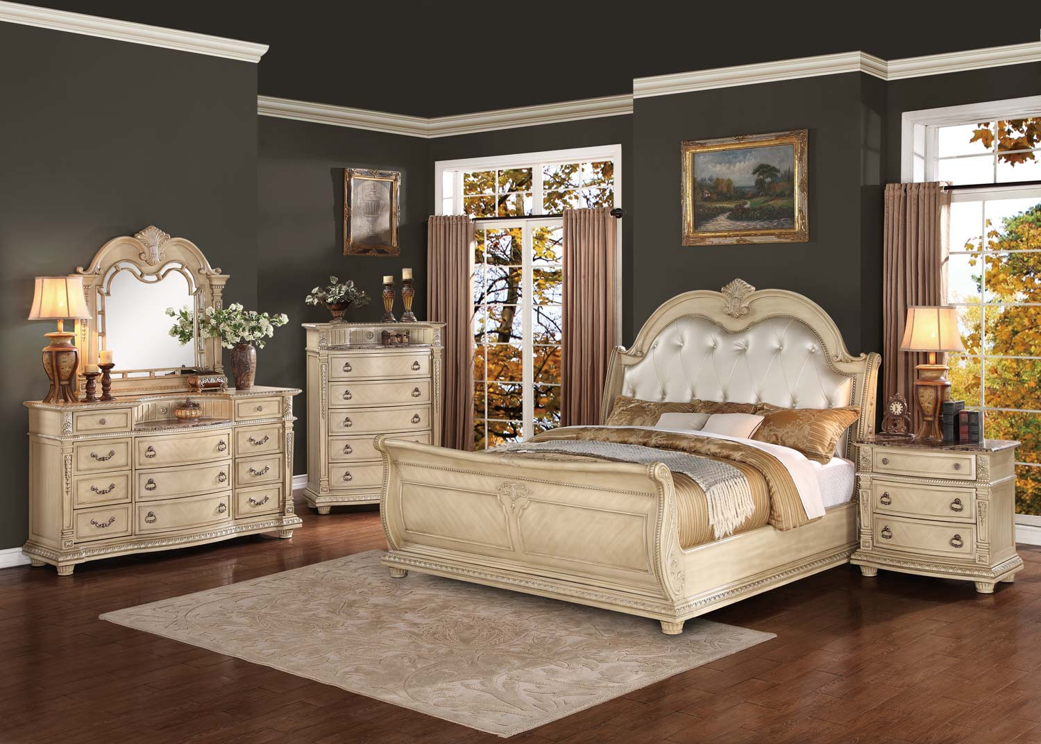 Homelegance palace ii upholstered bedroom set antique - White vintage bedroom furniture sets ...