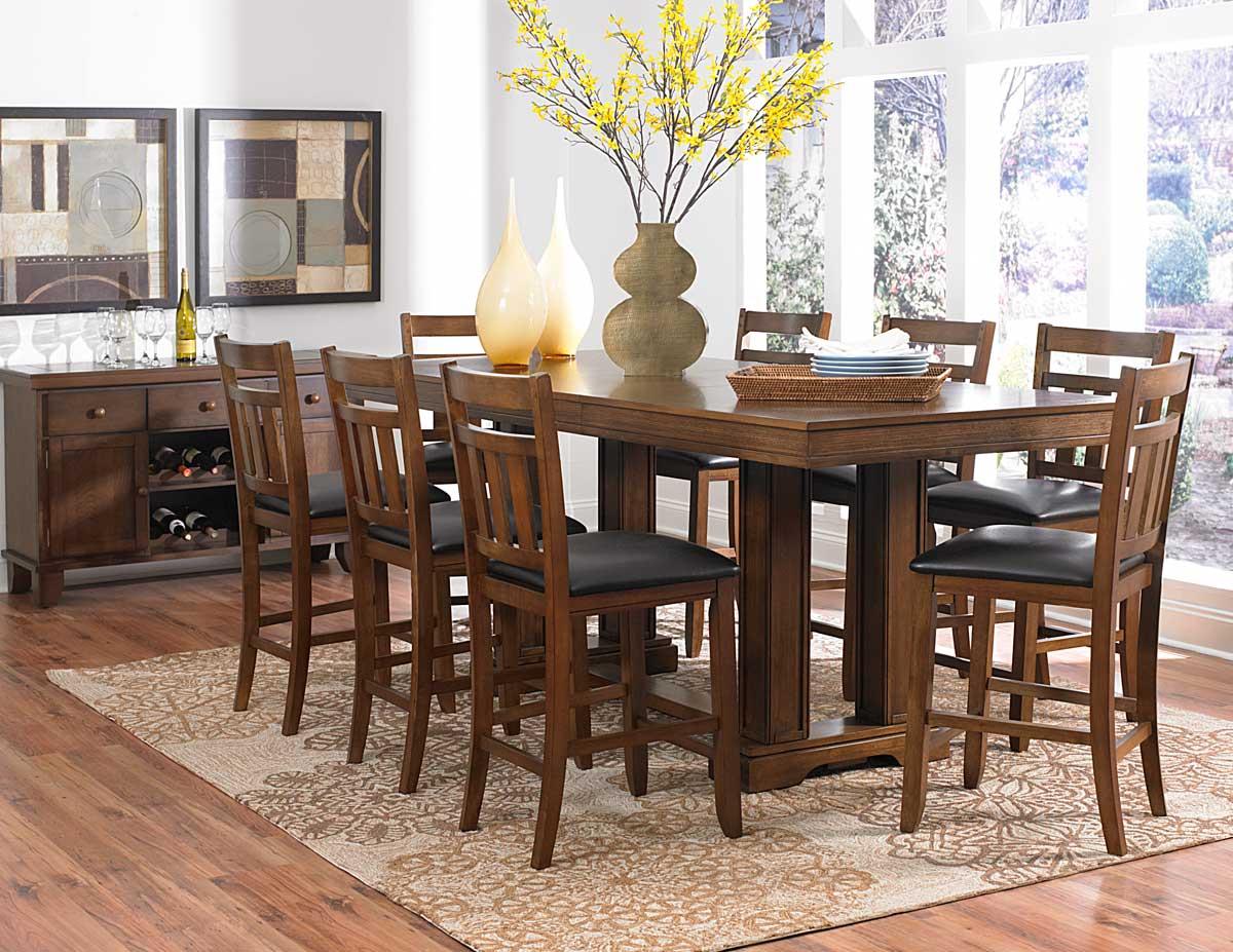 Homelegance Kirtland Trestle Counter Height Dining Set