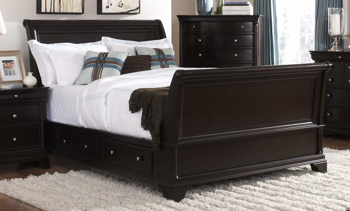 Homelegance inglewood sleigh platform bed with storage 1402sl 1 at for Bedroom set with storage drawers