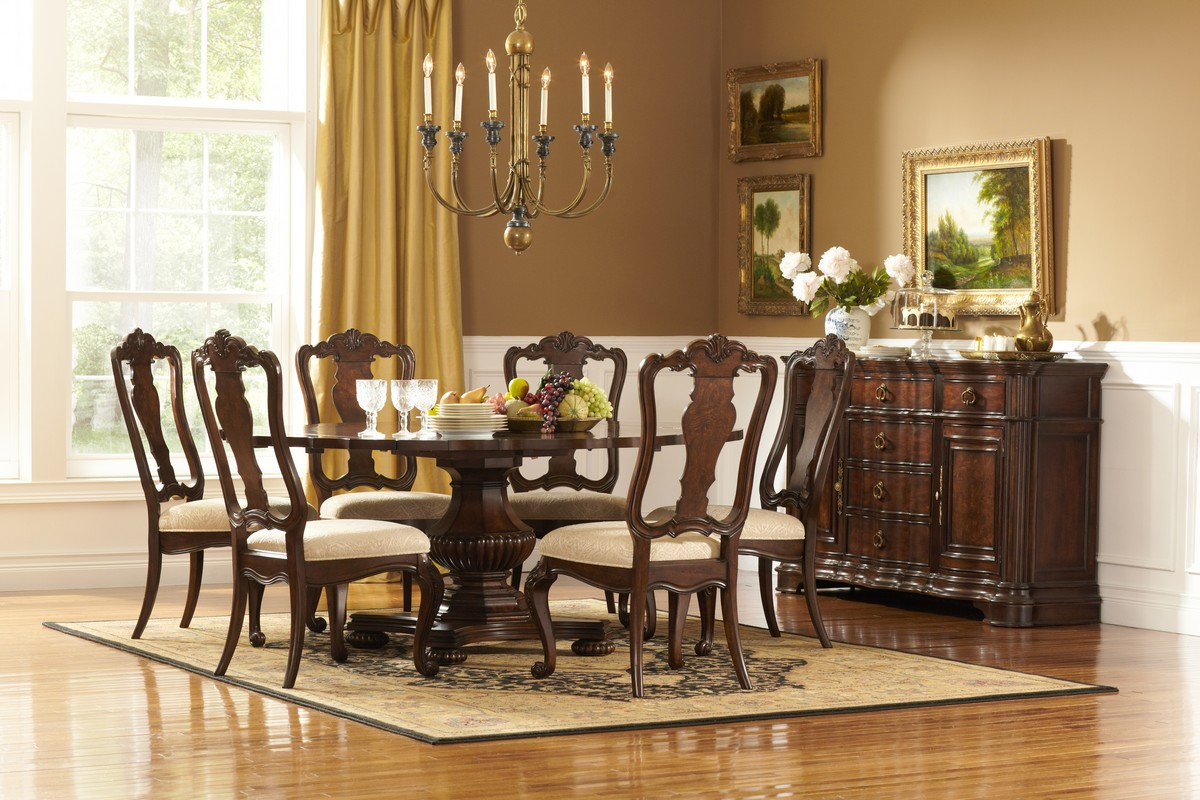 Homelegance Perry Hall Pedestal Dining Set D1405-72-DIN-SET