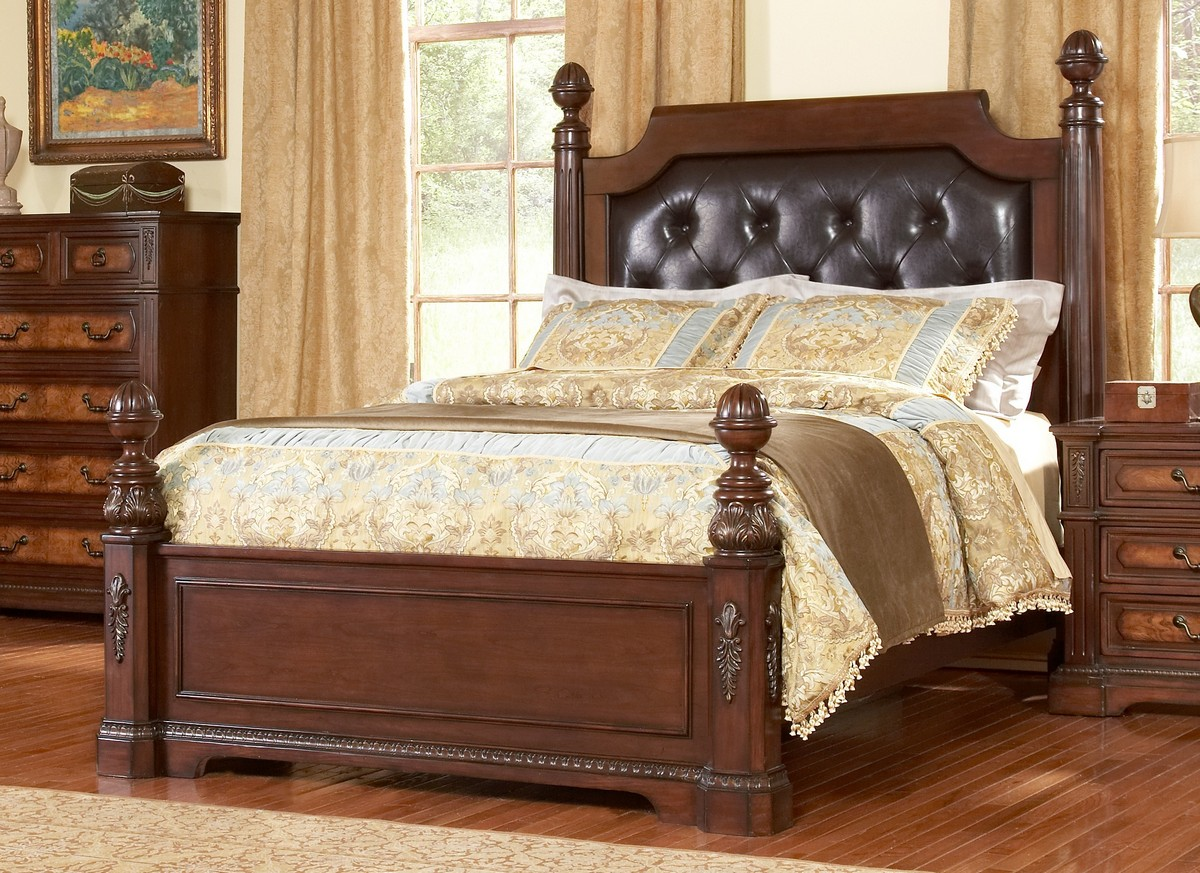 Homelegance Bermingham Low Post Panel Bed with Leatherette Headboard