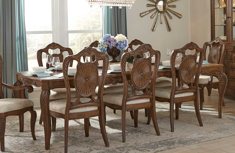 Homelegance Moorewood Park Dining Table with Leaf - Pecan