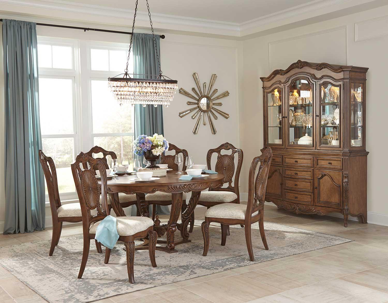 homelegance moorewood park round dining set pecan 1704