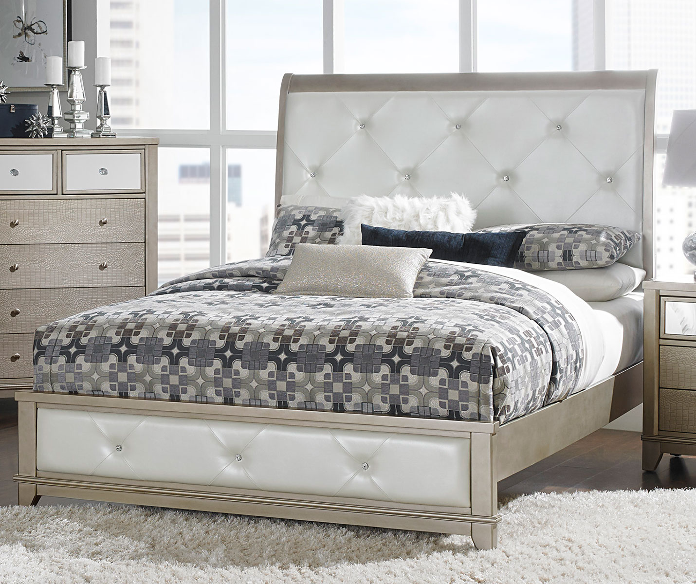 Homelegance Odelia Button Tufted Upholstered Sleigh Bed - Silver