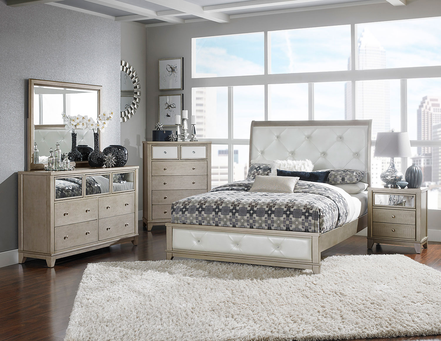 Homelegance Odelia Button Tufted Upholstered Sleigh Bedroom Set - Silver
