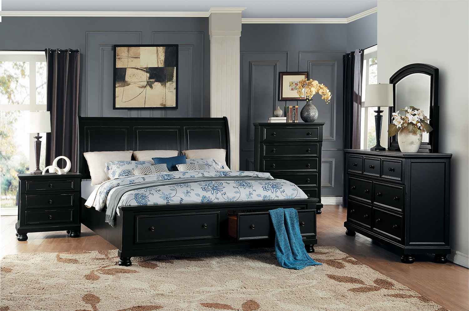 Homelegance Laurelin Sleigh Platform Storage Bedroom Set - Black Sand-Thru