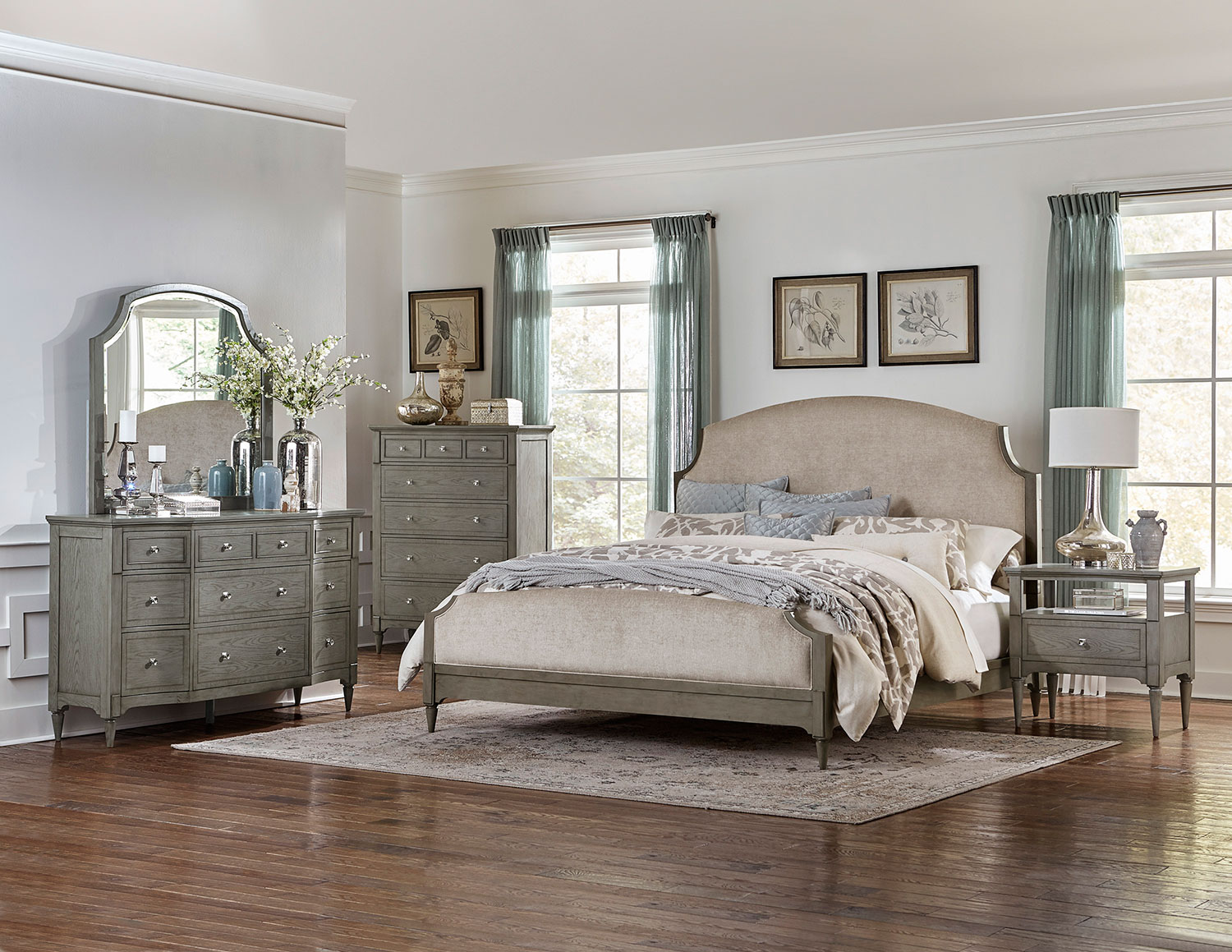 Homelegance Albright Upholstered Bedroom Set - Barnwood Grey