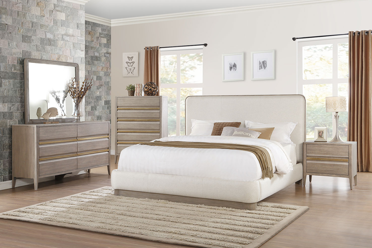 Homelegance Aristide Upholstered Platform Bedroom Set - Gold and Weathered Grey