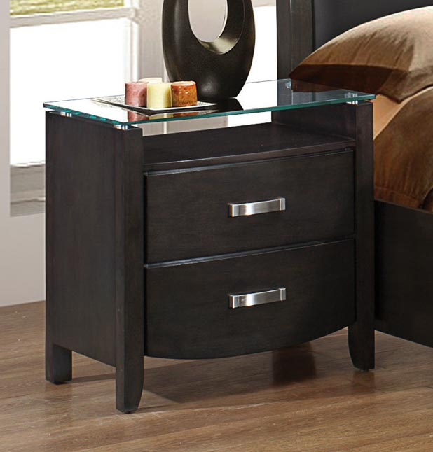 Homelegance Lyric Night Stand - Glass Top - Brownish Grey