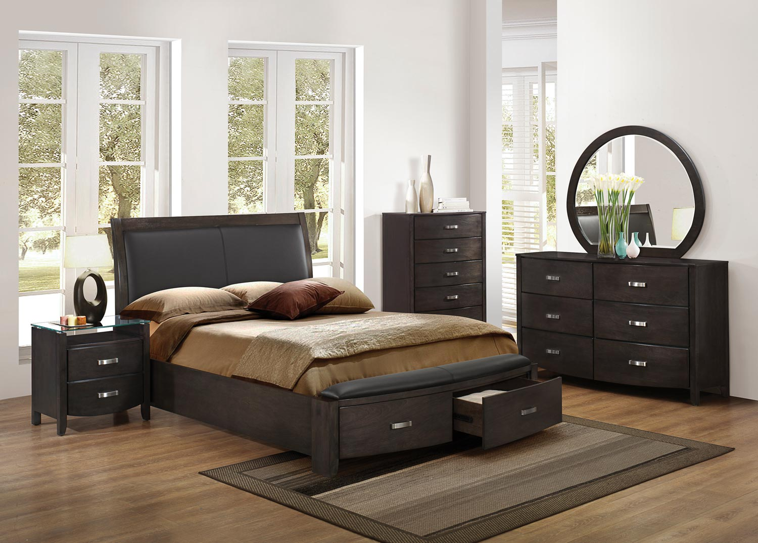 Homelegance Lyric Upholstered Sleigh Platform Storage Bedroom Set - Brownish Grey