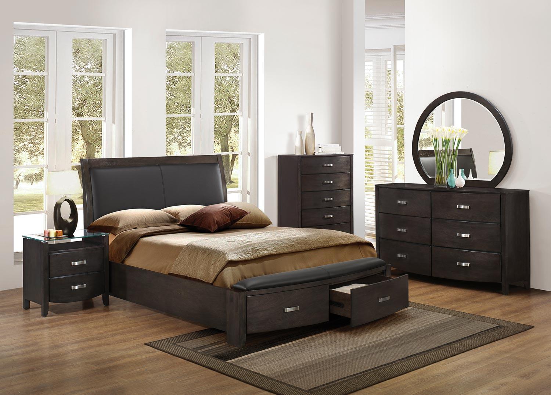 Homelegance lyric upholstered sleigh platform storage bedroom set brownish grey b1737ngy 1 at for Upholstered sleigh bedroom set