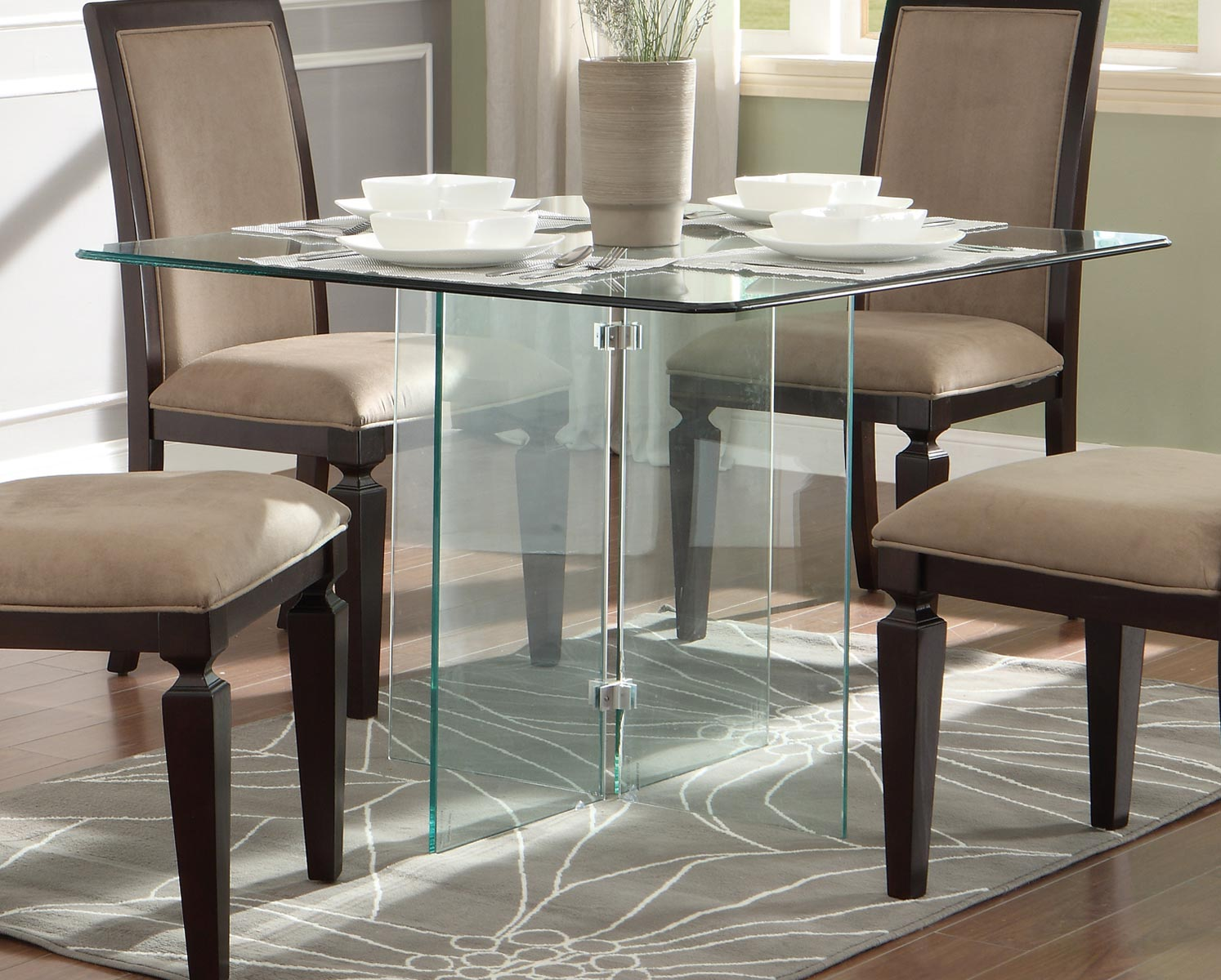 Homelegance Alouette Square Glass Dining Table