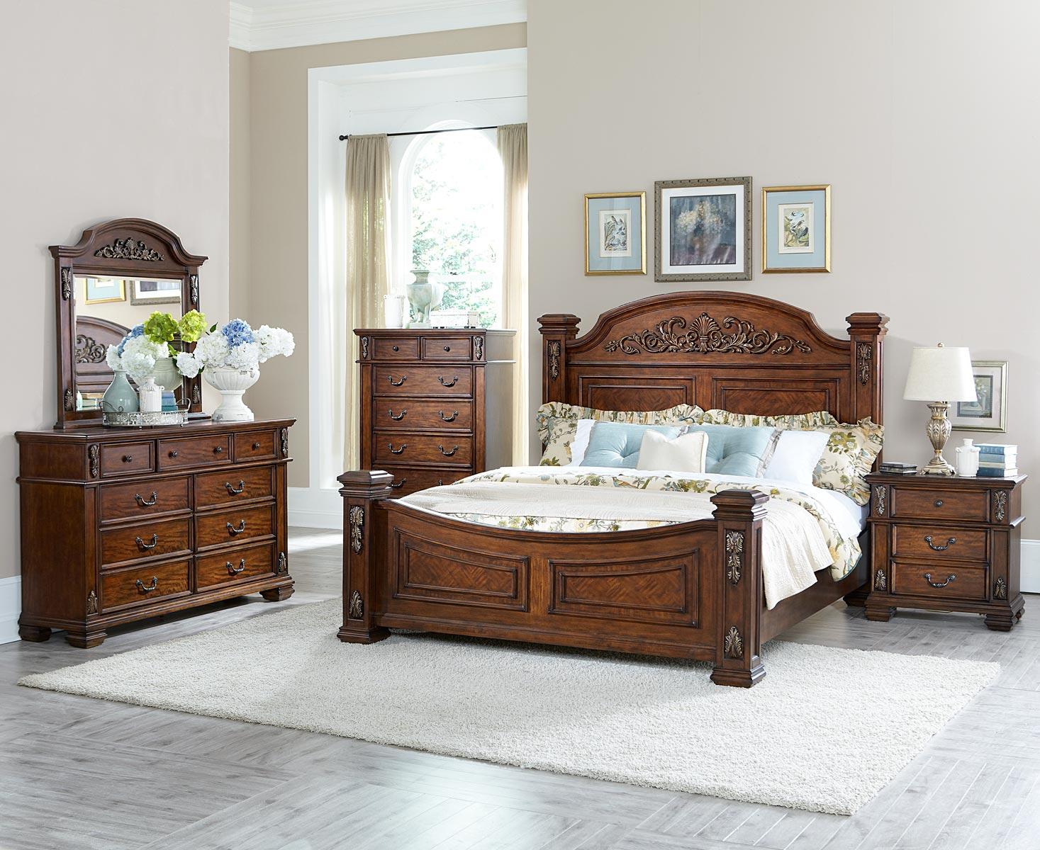 Homelegance donata falls bedroom set warm brown 1800 bed for 1800 beds