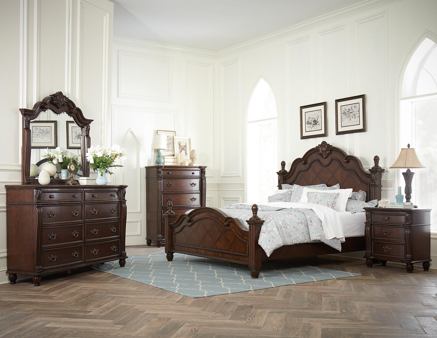 Homelegance Hadley Row Bedroom Set Cherry 1802 Bed Set at Homelement