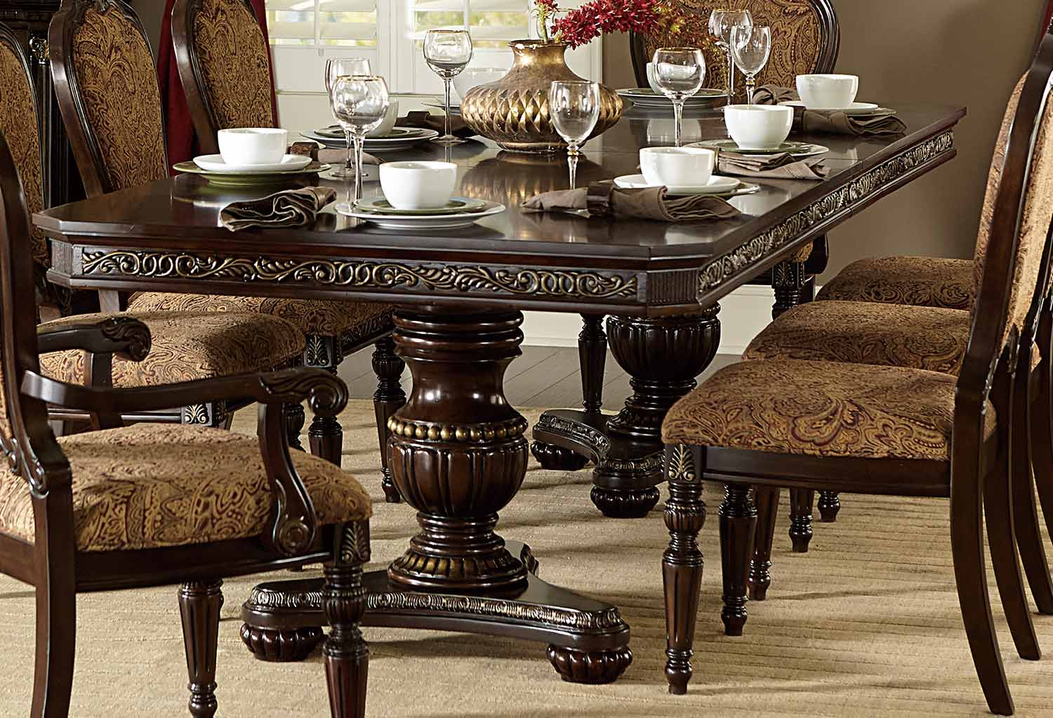 Homelegance Russian Hill Double Pedestal Dining Table - Cherry
