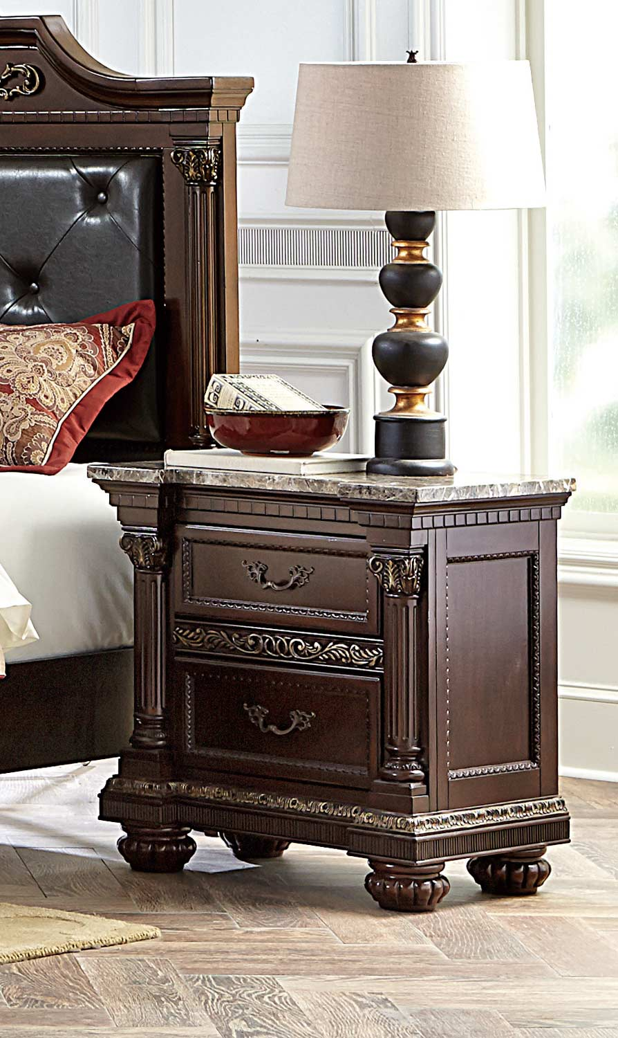 Homelegance Russian Hill Night Stand - Warm Cherry