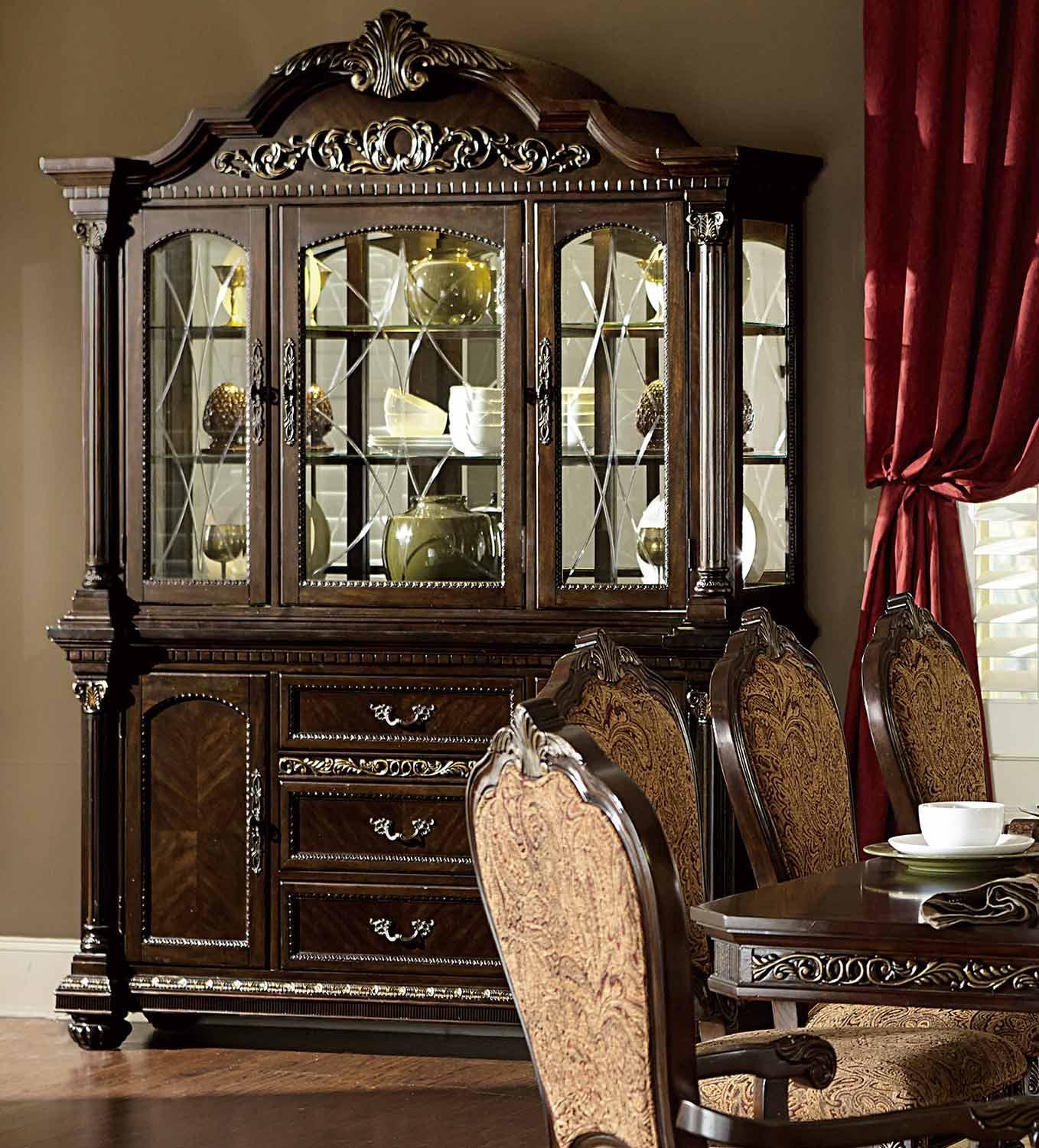 Homelegance Russian Hill China Cabinet - Cherry