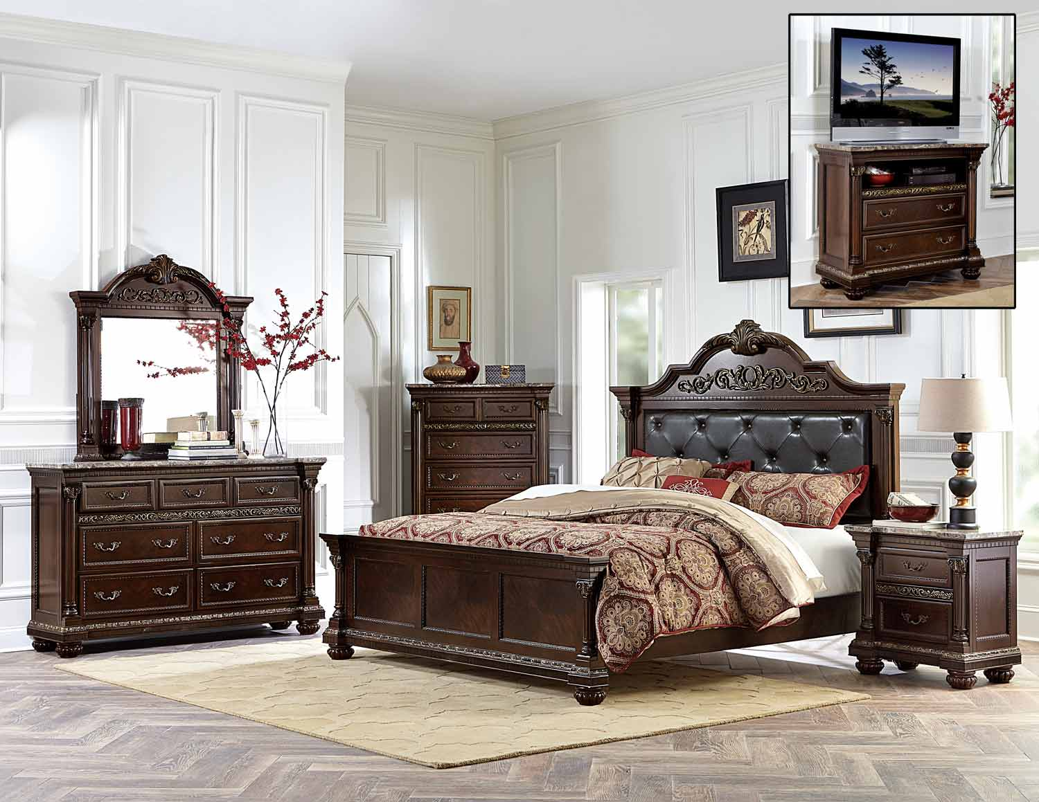 Homelegance Russian Hill Bedroom Set - Warm Cherry