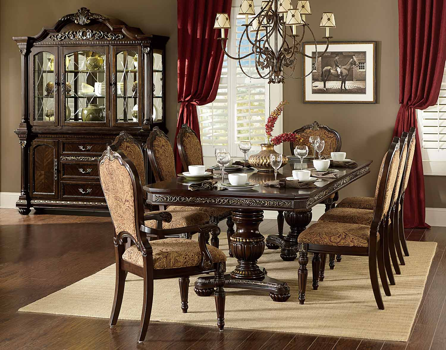 Homelegance Russian Hill Double Pedestal Dining Set - Cherry