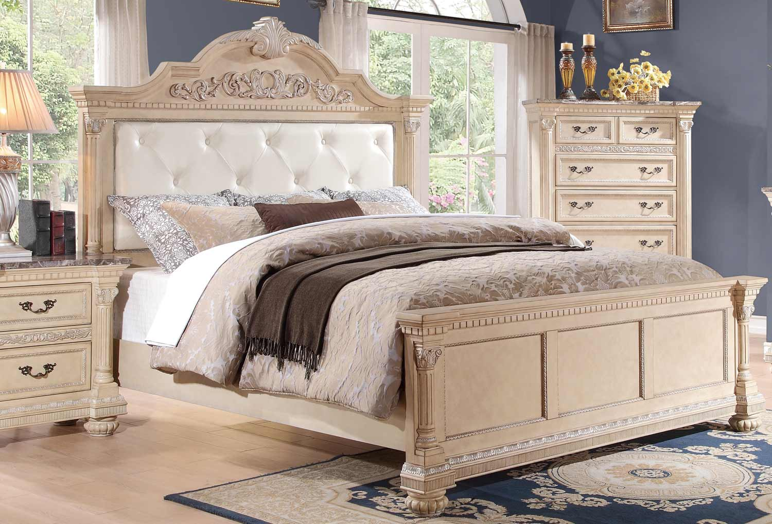 Homelegance Russian Hill Upholstered Bed - Antique White