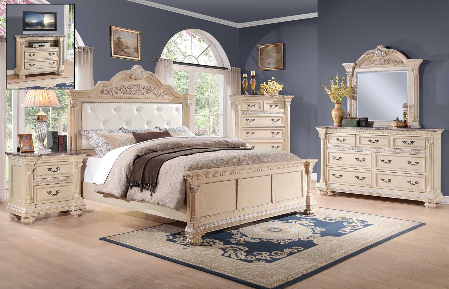 Homelegance Russian Hill Bedroom Set - Antique White