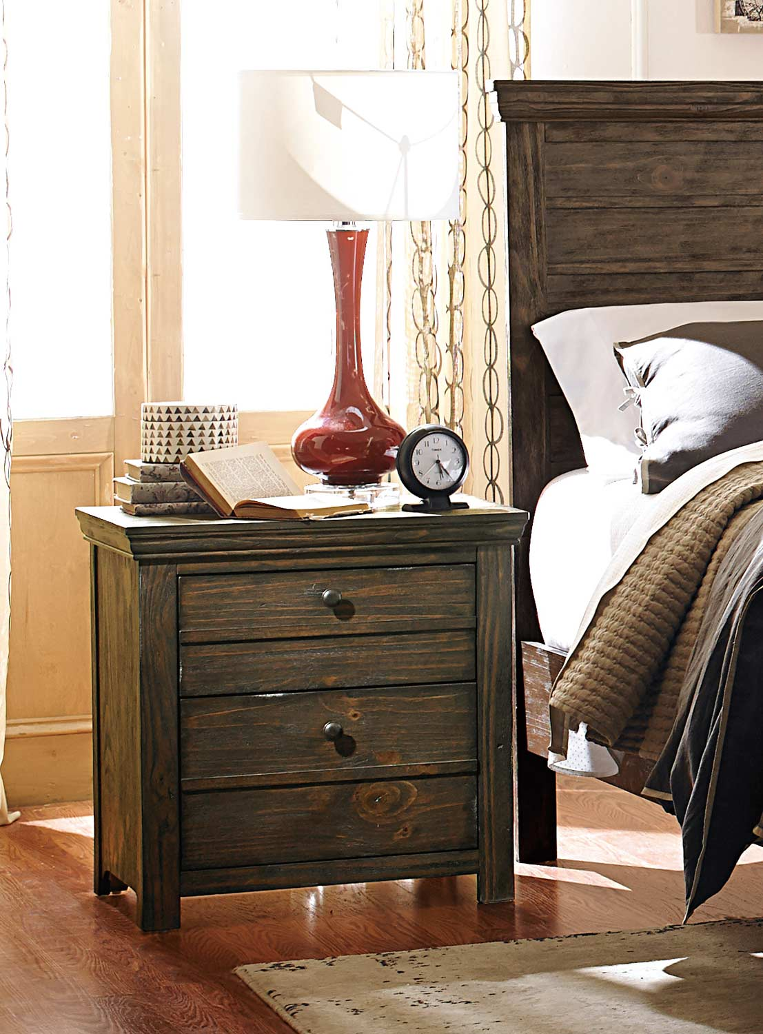 Homelegance Hardwin Night Stand - Weathered Grey Rustic Brown