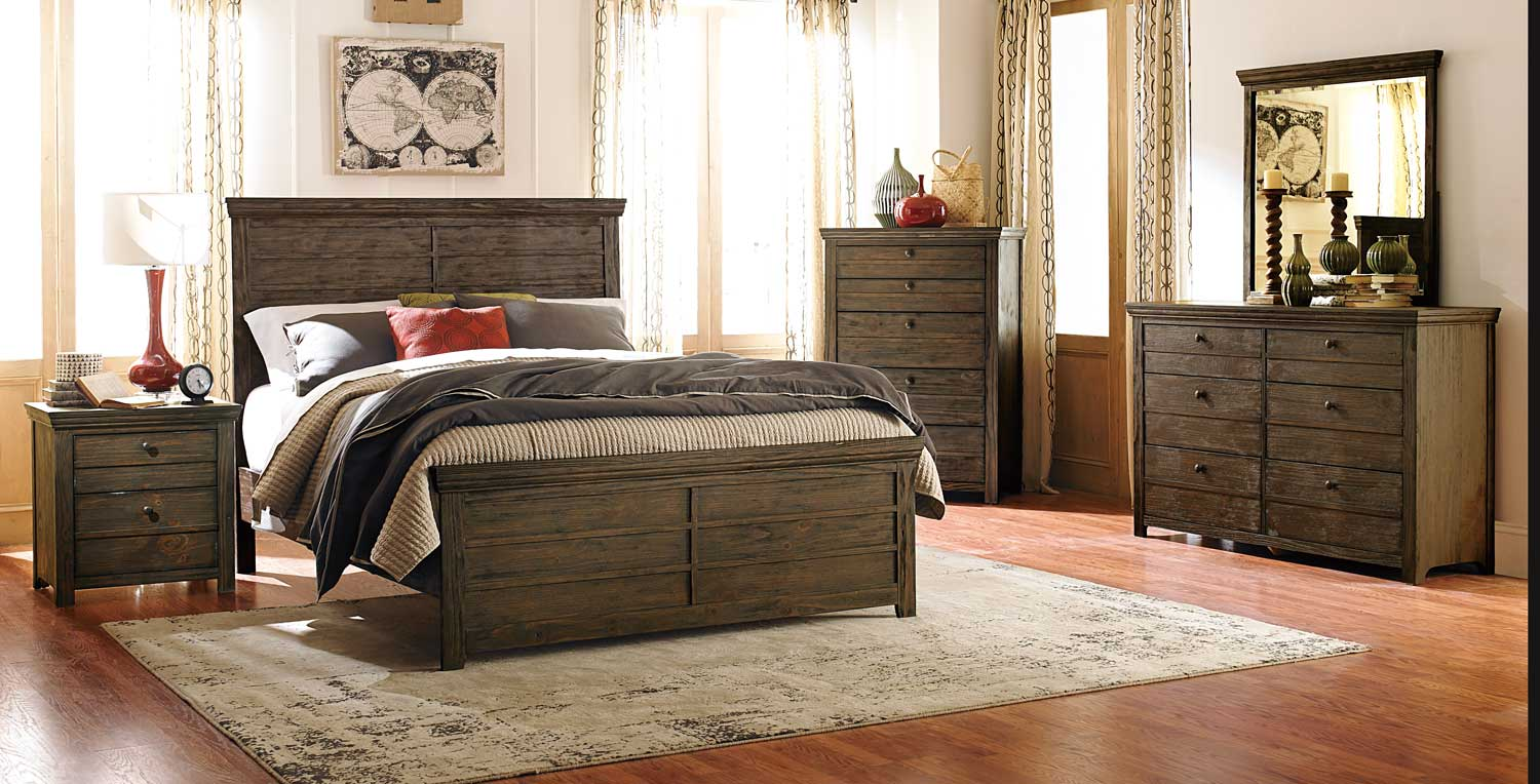 Homelegance hardwin bedroom set weathered grey rustic for Rustic bedroom furniture