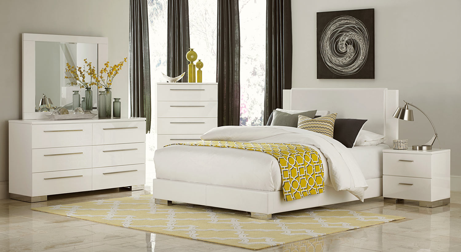 Homelegance Linnea Bedroom Set - High-Gloss White